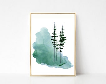 Pine Tree Print Evergreen Trees Watercolor Misty Foggy Forest Minimalst Nature Scene Scandinavian Art Scandinavian Poster Scandinavian Print