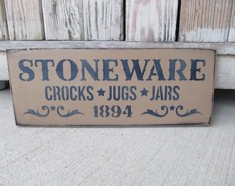 Primitive Stoneware Crocks Jugs and Jars 1894 Hand Painted Wood Sign GCC5526