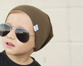 Olive slouchy baby beanie / Hipster baby beanie boy / Toddler beanie