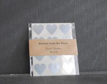 36 Mini Silver Heart Seals / Stickers