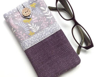 Glasses case - Spectacle case - Eyeglasses case - 'Meadow' Print - Fabric glasses pouch - Gift for mum