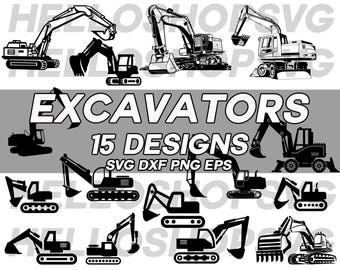 excavator svg, clipart, construction vehicle, digger vehicle, digger svg, decal, stencil, vinyl, cut file, iron on, eps, dxf, die cut