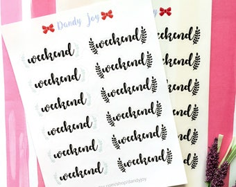 Weekend Planner Stickers Printed W1 - Black Weekend Planner Stickers - Happy Planner Weekly Stickers - Recollections Planner - EC