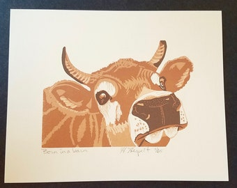 Born in a Barn Cow Letterpress Broadside