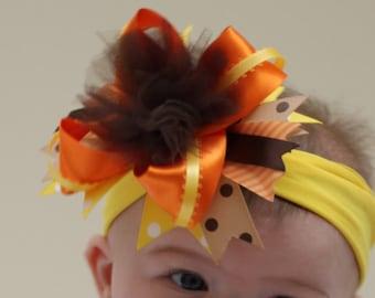 Thanksgiving bow, Fall hair bow, Autumn bow, Baby bow, Girls hair bow, Boutique hair bow, Layered hair bows, Newborn hairbow, Baby headbands