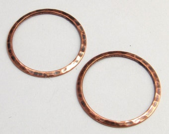 Antique Copper Hammered Ring, 21.5 MM, 2 Pc. AC76