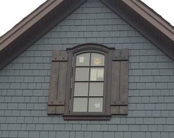 AVAILABLE:  Cedar Shutters with Decorative Clavos / Cedar Board & Batten Shutter / exterior shutters / stained shutters / board and batten