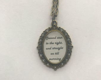 Peter Pan Neverland Directions Cameo Necklace