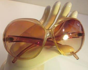 Vintage French Semi-Transparent Rose Oversize Designer Sunglasses