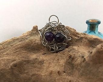 Handmade Bird Nest Wire & Bead Pendant