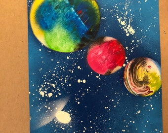 Custom planet spray paint art