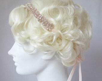 Rhinestone Flower Headband Rose Gold, Clear Crystal, Gold, Flapper Headband, Bridal Wedding, Great Gatsby Style
