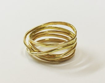 gold wrap ring. Gold infinity ring.  wrapped ring in 14kt gold wrapped wire ring. stacking look. infinity band
