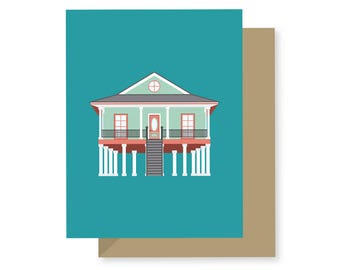 Elevated House Style, Historic Building Architecture Coastal Lakefront Pontchartrain Louisiana, New Orleans Greeting Card