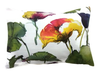 Decorative Pillow Cover Lumbar Flower and Leaf Design Shades of Green Red Orange Navy Blue Purple Toss Throw Accent 12x18 inch x
