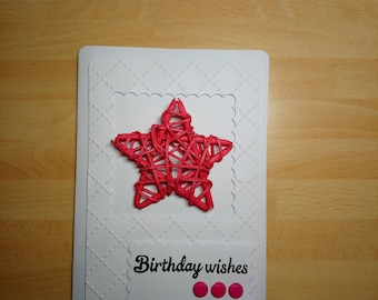 Pink wicker star birthday card
