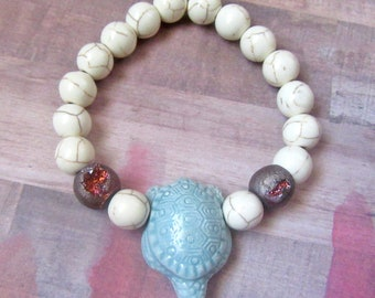 Large Ceramic Turtle Bead with Two Druzy Beads and Beige Howlite Beads