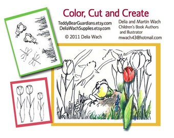 Frog and Tulips - Color, Cut, and Create - Printable PDF
