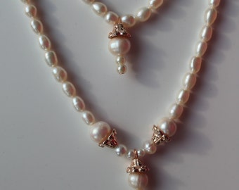 Pearl and Rose Gold Wedding Set