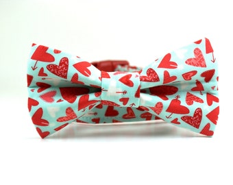 Valentines Dog Collar | Valentine's Dog Collar and Bow Tie Set | Style: Sweethearts in Aqua | Holiday Dog Collar | Boy Dog Collar