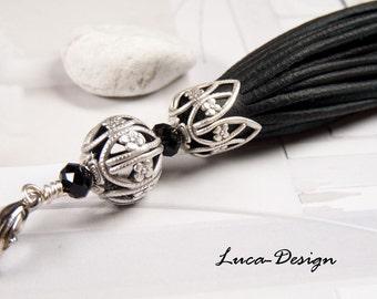 Genuine leather tassel tassel fringe Pompom wool nappa bag dog Greyhound collar collar necklace