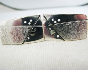 a918 Vintage Handsome Men's Sterling Silver Cuff Links with Bullet Back Closure