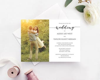 Wedding Engagement Photo Invitation Template, INSTANT DOWNLOAD, Self Editing Invite Template, DIY Wedding Printable, Personalized Invitation