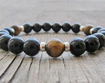 Onyx Bracelet Men mala bracelet Tiger eye bracelet Bead men bracelet Brother gift Mans birthday Black mala beads Mens jewelry