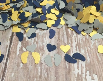 Baby Shower Confetti, grey navy gold confetti, baby feet shower decorations, gold heart confetti, party decorations, baby boy navy gold
