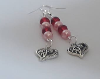 Love heart charm - beaded earrings