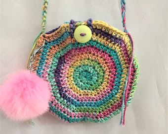 handbag, off the shoulder round purse, birthday gift for young girls, button closure