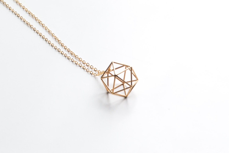 Pendiente geométrica del icosaedro collar pulsera