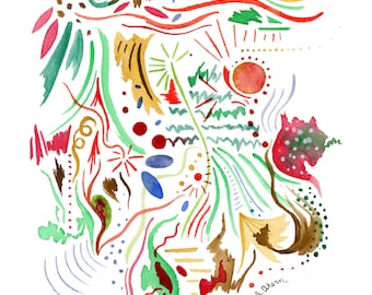 Watercolor abstract painting archival print, modern art print, colorful watercolor painting, colorful watercolor wall art, red, gold, green