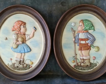 Hummel Little Hiker Holland Mold Ceramic Wall Hangings Plaques, Little Dutch Boy and Girl, Set of Two, Hand Painted