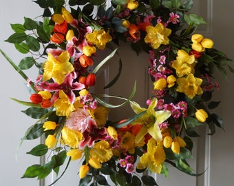 Spring Wreath Tulips Daffodils Pink Cherry Blossom Lilies Roses Ficus Leaves Large Wreath