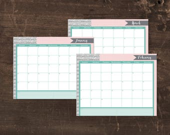 NEW! Printable 2018 calendar- Mint and pink