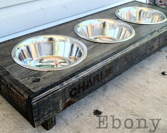 """Rustic dog bowl stand made from recycled pallets for extra small dogs 30"""" l X 12"""" w X 5"""" t"""