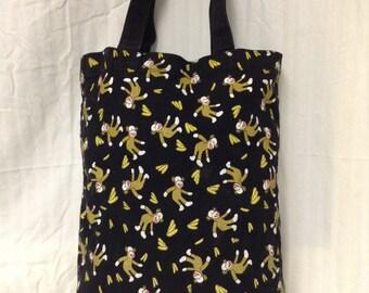 Canvas Tote, Sock Monkeys, Bananas ,Black, Yellow,purse,bag,shoulder bag,Monkey, Banana ,bag