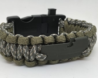 "Paracord Survival Bracelet ""War-Dogg LED"" w/ Fire Starter Buckle, Compass, Whistle, P-38 Multi Tool, Handmade, Survival, Hunting, Hiking"