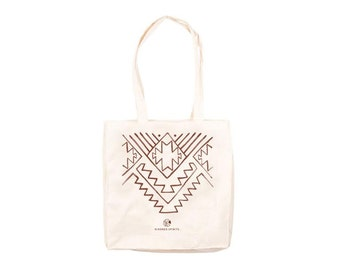 Tote bag Kindred Spirits pattern / Canvas tote bag / Cotton tote bag / Shopping bag printed / Grocery bag / Ethnic print / Brown print tote