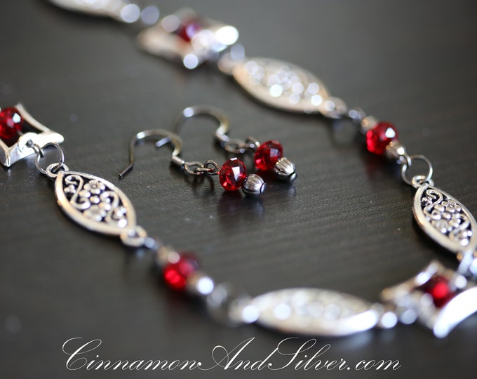 Dark Red Crystal and Hematite Gray Floral Link Necklace and Earrings Set, Gunmetal Grey and Red Crystal Link Necklace and Earrings Set