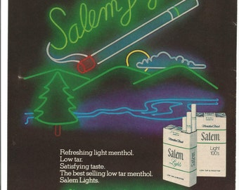 1980 Advertisement Salem Lights Cigarettes Neon Sign Scenic Landscape Mountains Trees Smoking Tobacciana Club Room Wall Art Decor