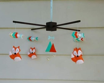 Fox and Arrow baby mobile, Fox Nursery Decor, Arrow Nursery Decor