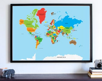 World map, world map print, guest book map, wall art, home decor, large world map, Colorful World Map, travel Gift, map travel, Travel Map