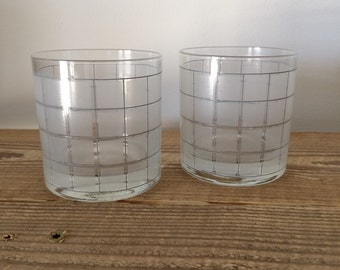 Set of 2 Vintage Frosted Windowpane Whiskey Rocks Double Old Fashioned Glasses