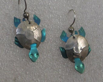 "Fun Sterling and Niobium Turtle Earrings 1.5"" Long"