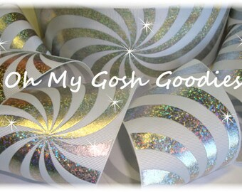 """PSYCHEDELIC HOLOGRAM WHITE Silver Grosgrain Tic Toc Cheer Ribbon - 3""""  - 5 Yards - Oh My Gosh Goodies Ribbon"""