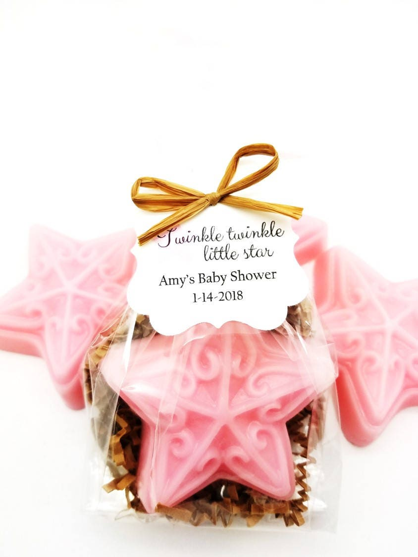 Pink Star Soap Baby Shower Favors with Custom Tags Twinkle