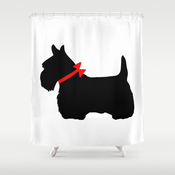 Scotty Dog Shower Curtain, Scottie Dog Bathroom Decor, Modern Home Decor, Red Bow Shower Curtain, Wedding Gift, Black White Shower Curtain