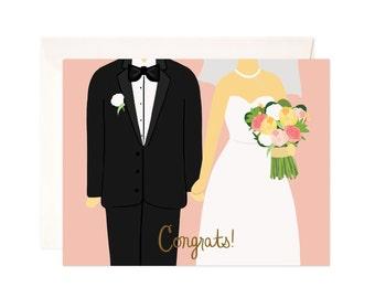 Wedding Congratulations Card: Handmade Wedding Congrats Greeting Card